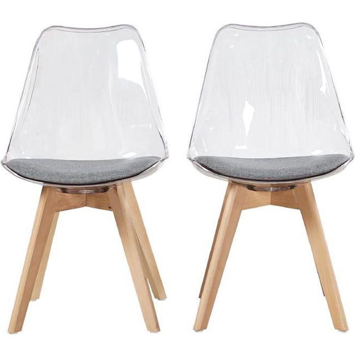 Lot 2 chaises transparentes