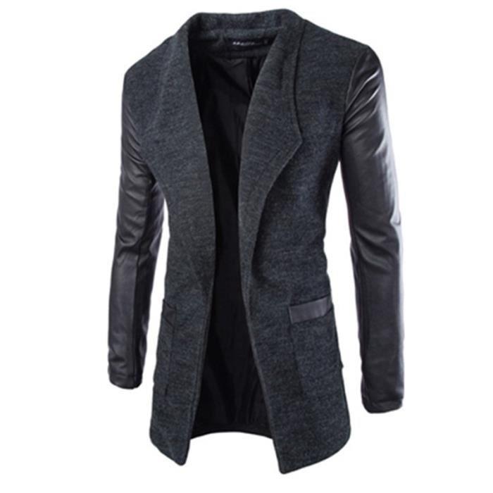 manteau parka PU Masculin en Vêtement hiver cuir pour homme slim OnwmyN8v0