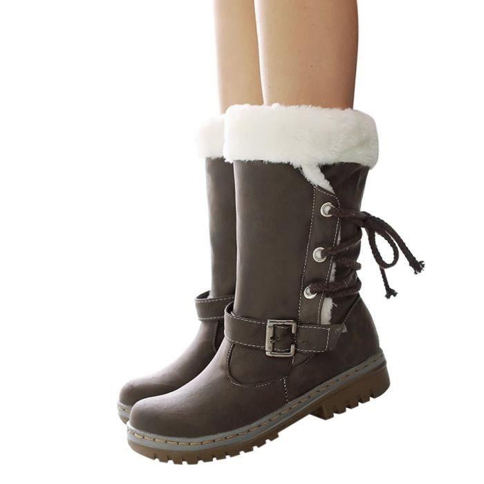 Pachasky®Classiques Bottes de neige Femme Mode Talons Chaussures plates Bottes d'hiver chaudes de fourrure LYH80904415BW38 marron