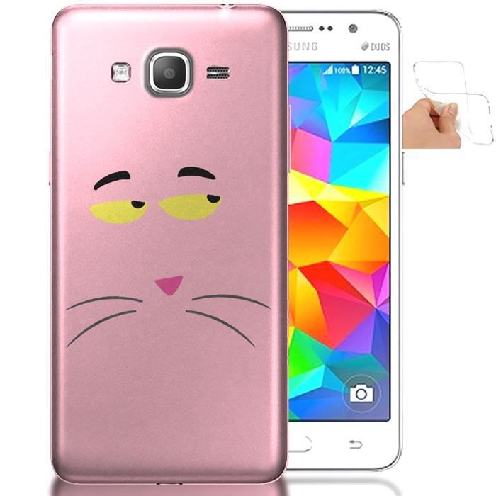 Housse silicone samsung galaxy grand prime panthere rose for Housse samsung grand prime