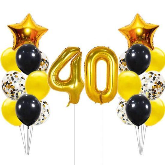 Noir Paillettes Foil Balloon âge 40-40th Fête D/'Anniversaire Ballon
