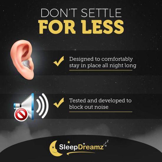 Bouchons doreille pour dormir 10 paires Anti ronflement efficace boules quies Boule quies avec un protection de haute d/écibels Bouchon dOreille sommeil SleepDreamz/®