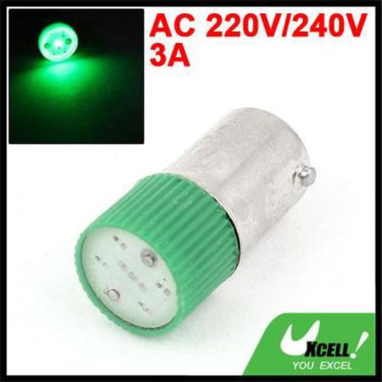 sourcingmap 5pcs AC 220V LED verte M/étal pilote indicateur t/émoin feux bord