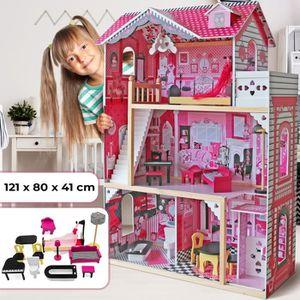 MAISON POUPÉE Maison de Poupée Barbie en Bois Très grande 121x80