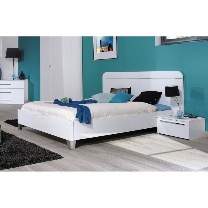 first lit adulte contemporain blanc laqu l 140 x l 190 cm - Lit Adulte Pas Cher