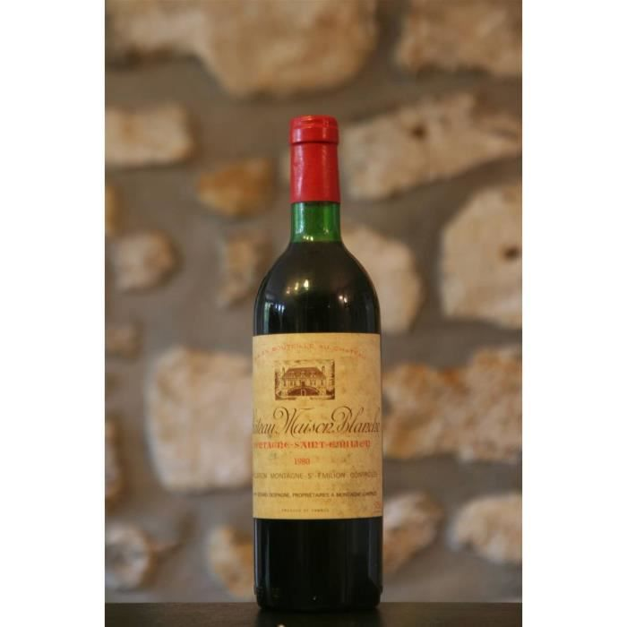 Vin rouge, Montagne St Emilion, Château Maison blanche 1980 Rouge
