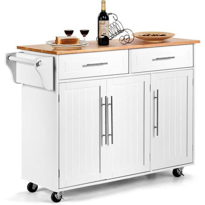 DREAMADE Chariot de Cuisine avec 2 Tiroirs et 2 Armoires, Desserte avec Planche à Découper, Porte-serviette et Porte-couteau, 121X46