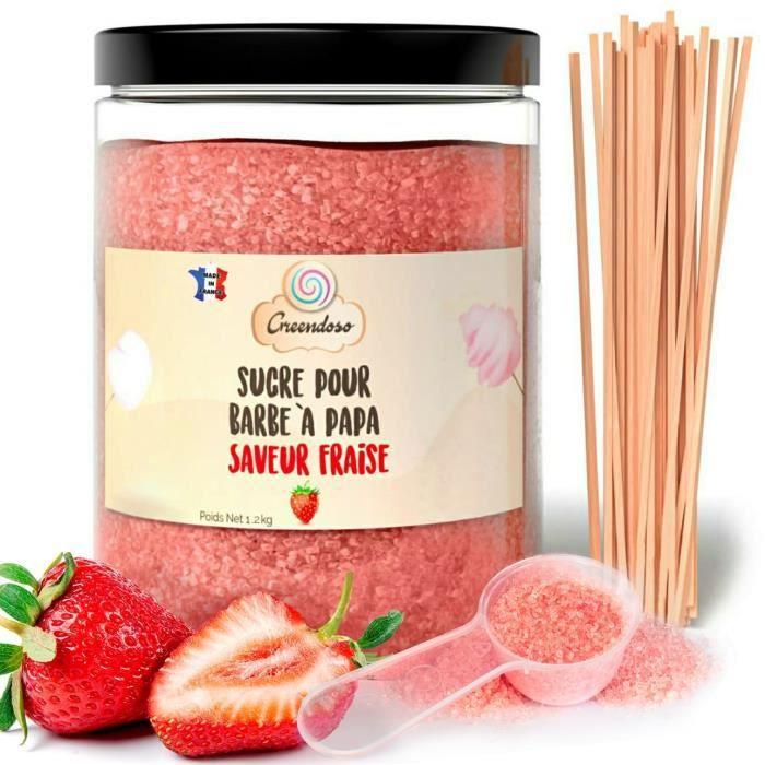 Sucre Barbe à Papa Fraise 1 Kg + 50 Bâtonnets de 30Cm (Offerts) + 1 Cuillère Mesure
