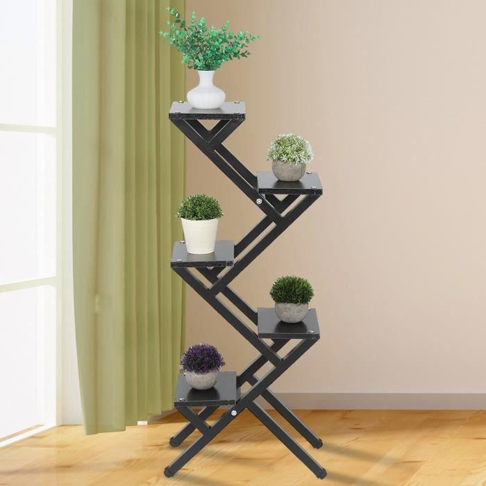 Support pour plantes en bois 5 niveaux acier bois z forme pot de fleur stand plante plateau présentoir balcon jardin décor -DUO