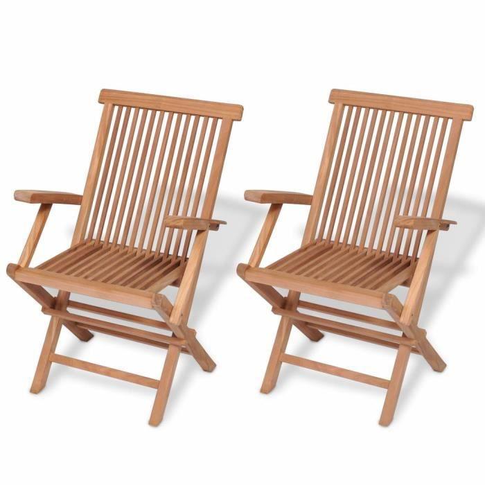 Nouveau Chaises pliables de jardin 2 pcs Bois de teck solide