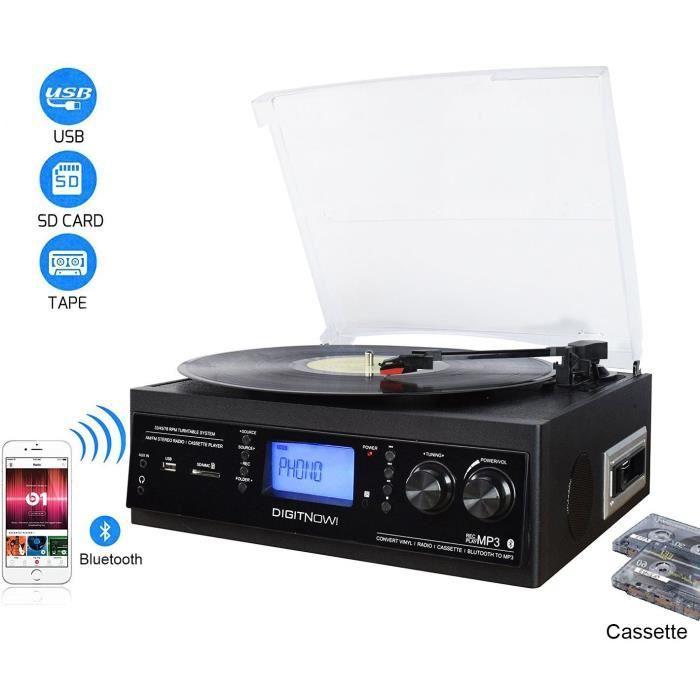 DIGITNOW! Platine Vinyle Bluetooth USB mp3 et Fonction Encodage Classique avec Cassette Radio 33-45-78 RPM Haut-parleurs Intégrés