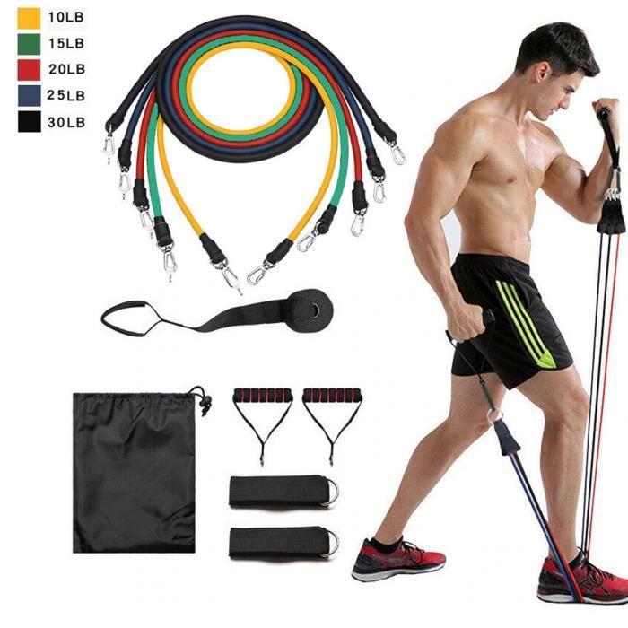 11 pcs - ensemble caoutchouc naturel Latex Fitness bandes de résistance exercice élastique Pul wv2677