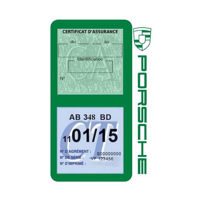 Double porte vignette assurance Porsche sticker adhésif couleur Vert foncé