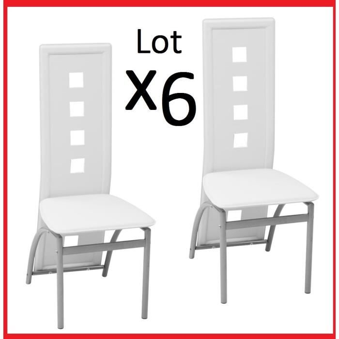 Lot de 6 Chaises en Acier Laqué et Similicuir Blanc de table à manger Salon reception dosseret rectangulaire carré