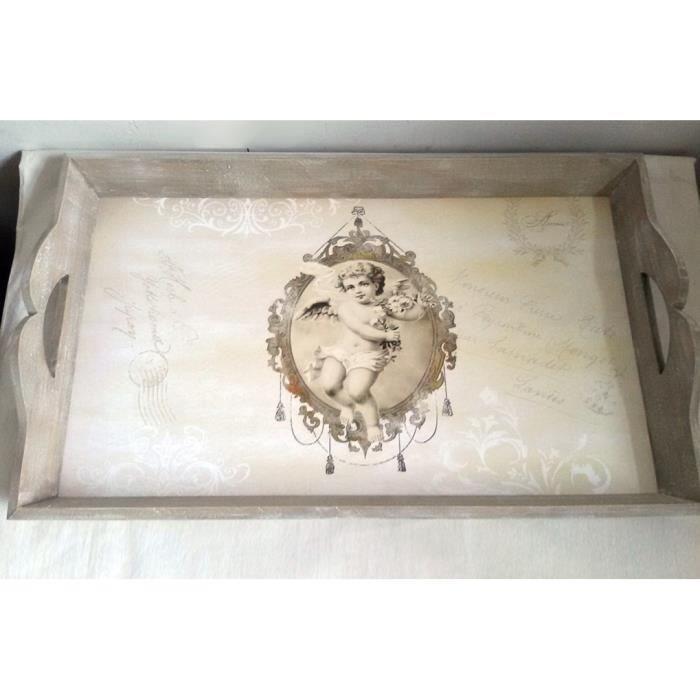 Plateau repas en bois figurine Ange - vintage rétro - 50 x 30 cm
