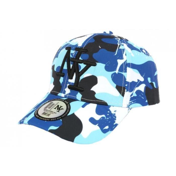 Casquette Enfant Camouflage Bleue et Blanche Baseball NY Militaire Marchy 7 a 12 ans - Taille unique - Bleu