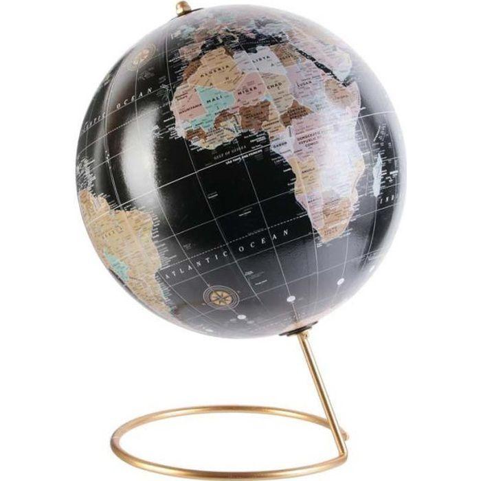 Globe terrestre Happy working 21 cm Noir