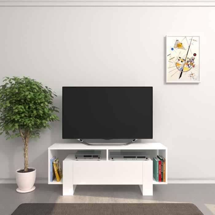 Meuble TV design Melville - L. 120 x H. 47 cm - Blanc
