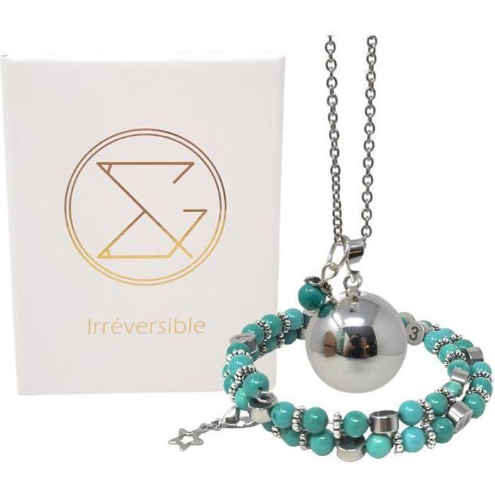 Box grossesse Howlite teintée turquoise- Coffret cadeau femme enceinte lithothérapie - bola & bracelet d'allaitement / biberonnage