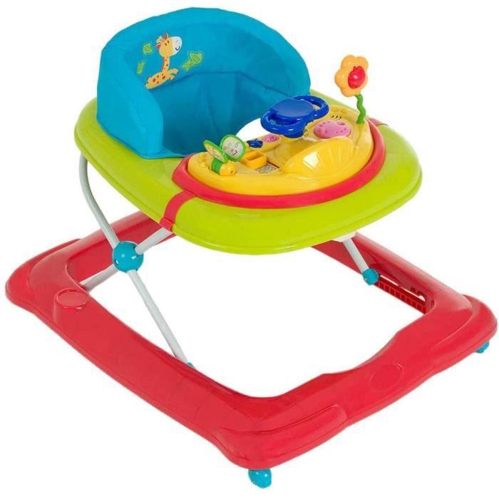 Player / Trotteur Bebe de 6 Mois à 12 kg / Marcheur avec Musique / Aide à la Marche avec Centre d'Éveil et Roues / Assise Rembourrée