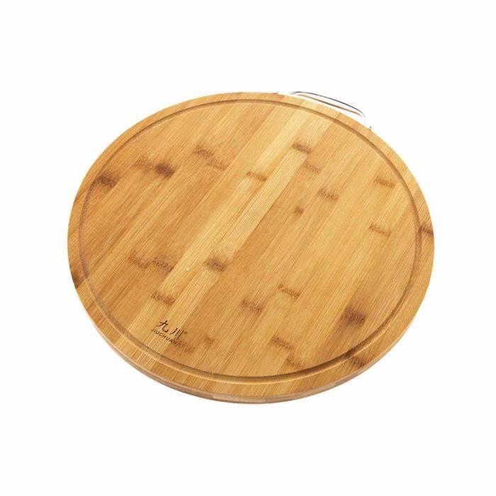 Planche à découper,Planche à découper en bois rond en bambou épais, bloc de cuisine tapis à découper Pizza Sushi - Type Round