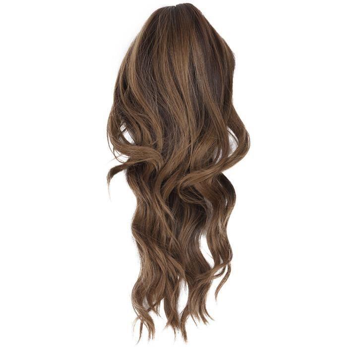 Cikonielf Perruque de femmes Perruque bouclée ondulée brun foncé pour femme, perruque synthétique à la mode, partie de cosplay,