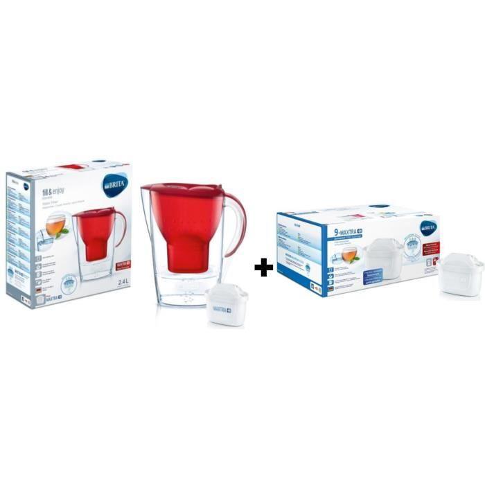 Pack BRITA Carafe filtrante MARELLA Rouge + 10 Cartouches de rechange Maxtra +