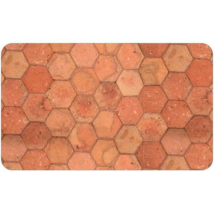 Tapis déco en mousse imprimé tomettes Orange - Ocre 45 x 75 cm