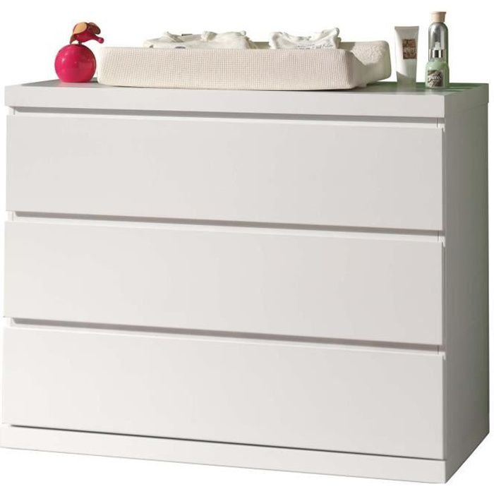 LARA Commode contemporain Laqué blanc - L 110 cm