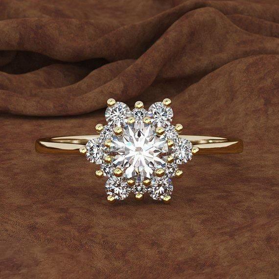 Flocon De Neige Aaa Anneaux De Diamant Pour La Fiançailles De Noël Femmes Bijoux