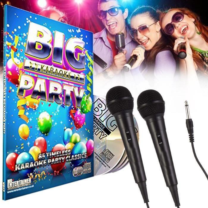Mr Entertainer Big Karaoke Party - 4 x CD+G (CDG) Pack. 85 Songs. Karaoke Party Hits. chansons de fête + 2 Micros