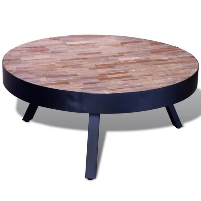 Table basse design scandinave salon contemporain ronde Bois de teck recyclé