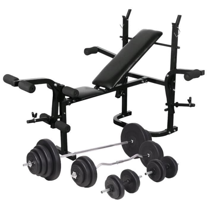 Banc d'entraînement + support de poids jeu d'haltères 120 kg