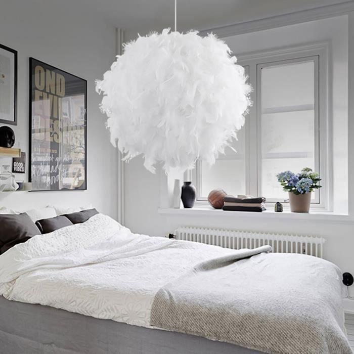Lustre Suspension en Plumes - E27 - 40W - Blanc - 30 cm