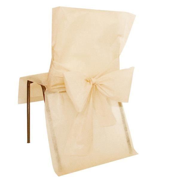 Housse de chaise avec noeud: Ivoire (x10) REF/2931