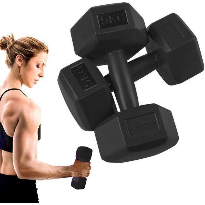 SPRINGOS® Haltères 2x 5 kg Hexagon Dumbbells Entraînement de force pour la gymnastique et le fitness