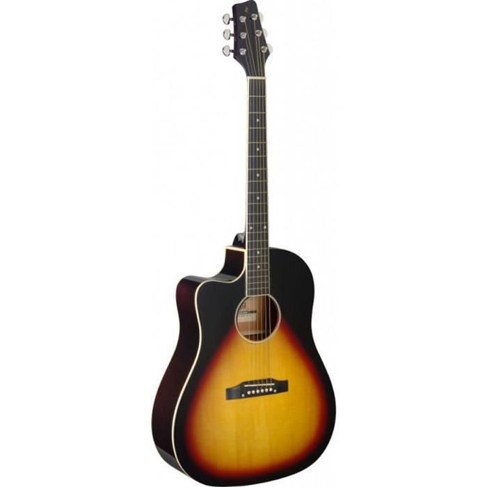 StaggSA35 DSCE-VS LH - guitare électro-acoustique gaucher Sunburst