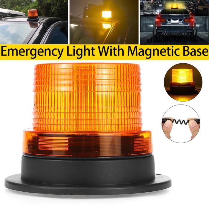 TEMPSA Gyrophare LED Lampe Avertissement Urgence Flash Jaune