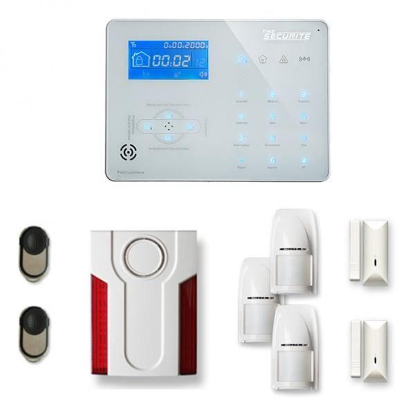 Alarme maison sans fil ICE-B 2 à 3 pièces mouvement + intrusion + sirène extérieure - Compatible Box internet et GSM