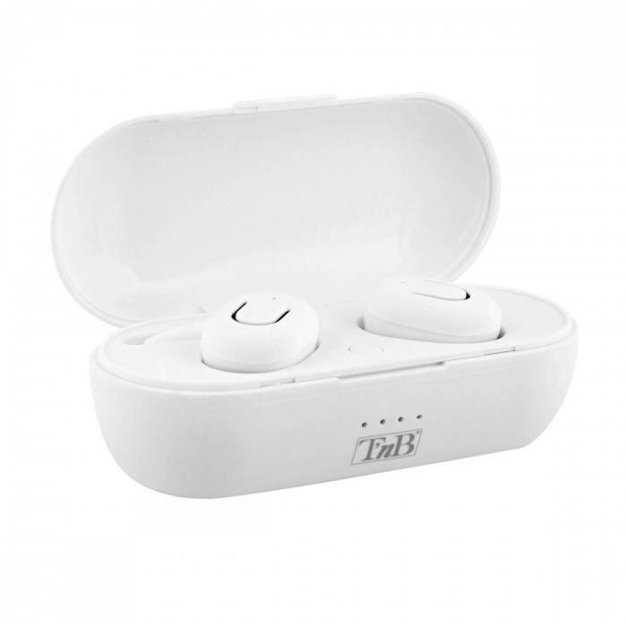 TNB DUDE - Ecouteurs TRUE WIRELESS Bluetooth 5.0 avec boîtier de charge - blanc