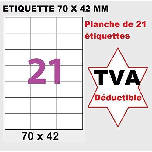 1,050 étiquettes 70x42 mm - 21 Étiquettes autocollantes - 50 feuilles avec étiquette 70 x 42.3 mm pour imprimante laser jet d'encre