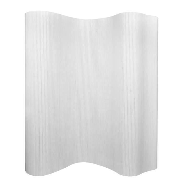 Paravent design en bambou 250 x 195 cm blanc