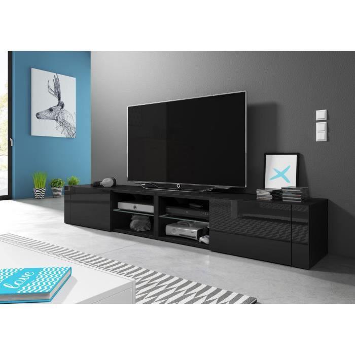 VIVALDI Meuble TV - Hit 2 DOUBLE - 200 cm - noir mat / noir brillant sans LED - style design