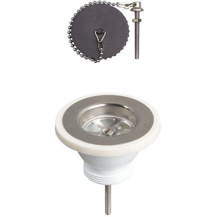 Bonde à bouchon pour évier grès - D : 60 mm