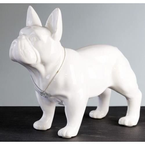 deco grande statue de chien bouledogue fran ais debout blanc en c ramique l32 cm achat. Black Bedroom Furniture Sets. Home Design Ideas