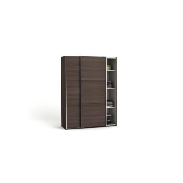 Armoire 2 portes coulissantes stella chene vulcano lin for Armoire penderie 2 portes coulissantes