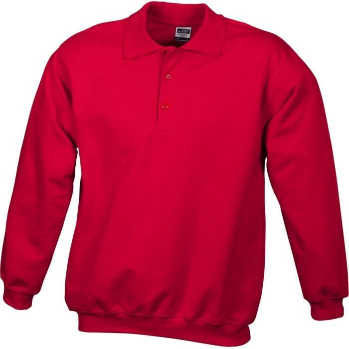 Sweat-shirt col polo - homme - JN041 - rouge