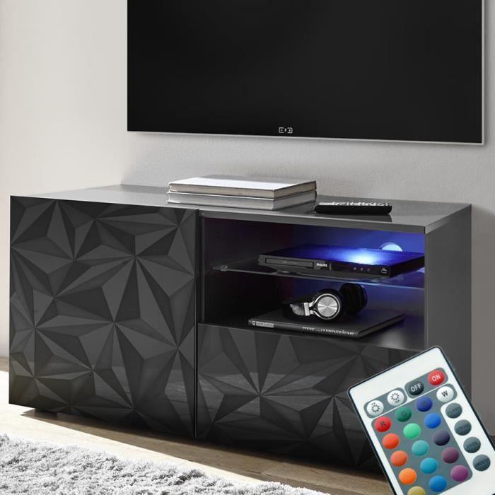 Meuble Tele Led 120 Cm Gris Laque Design Antonio 3 L 122 X P 42 X H 57 Cm Gris Achat Vente Meuble Tv Meuble Tele Led 120 Cm Gris Cdiscount