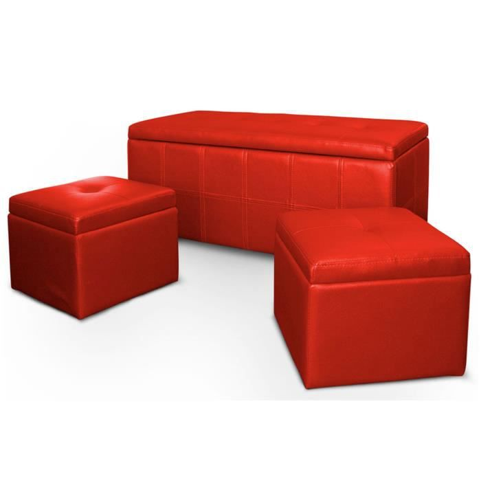 banquette coffre 2 poufs rouge capitonn achat vente banquette banquette coffre 2 poufs. Black Bedroom Furniture Sets. Home Design Ideas