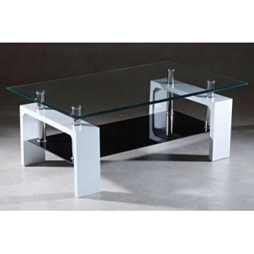 Table basse design blanc noir achat vente table basse - Table basse noir et blanc design ...